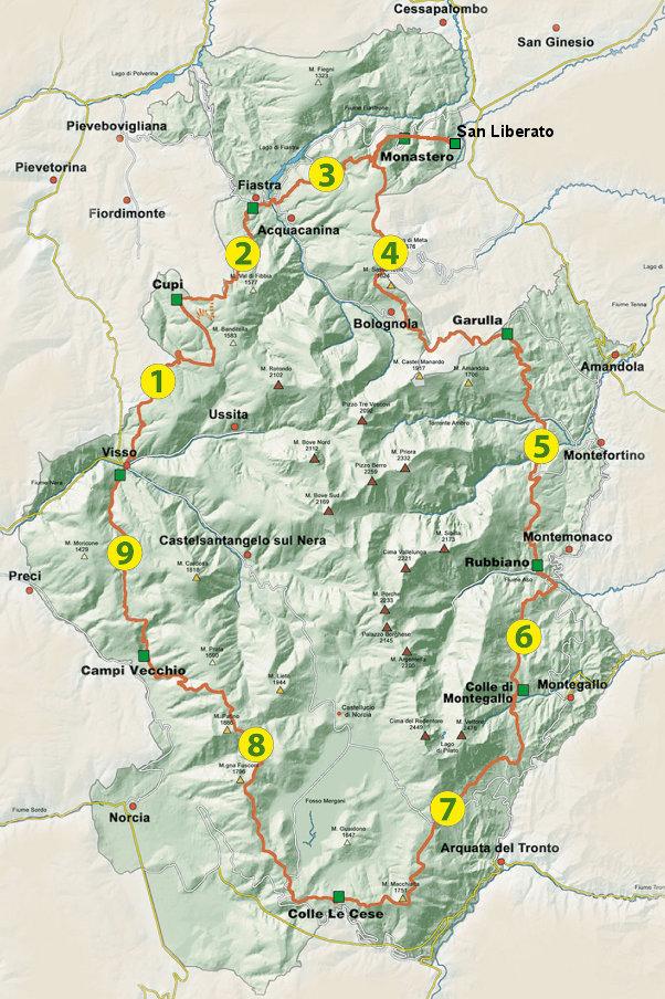 Cartina grande anello dei Sibillini